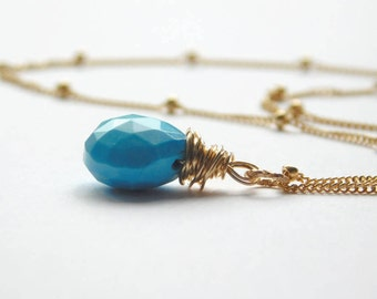 Turquoise Gold-filled Necklace, Turquoise Pendant, Gold-filled Satellite Chain, Wire-wrapped Pendant, December Birthstone, UK Jewellery