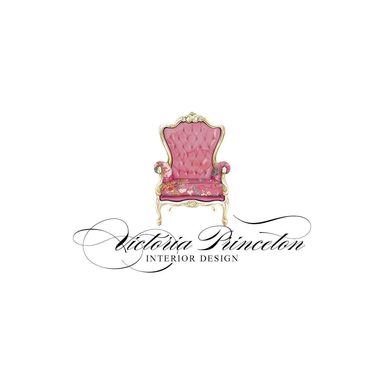 Pre made Logo Watercolor Armchair Pink Gold Interior