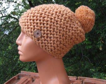 Jumbo knit Bobble hat  -  Chunky knit pom pom hat - Knitted beanie - Merino wool beanie - Knitted chunky gold colour pom pom beanie hat