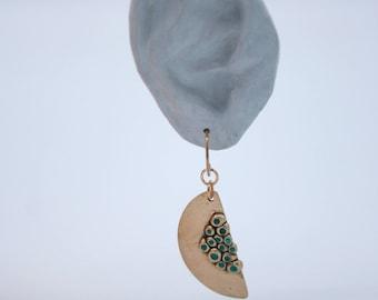 Bronze and turquoise alveolate earrings