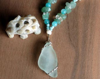 Beachy Sea Glass Necklace, Flourite Beaded Necklace, Sterling Silver Wire Wrapped