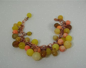 Cha Cha Bracelet, Charm Bracelet, Sunshine bracelet, Yellow Beaded Charm Bracelet