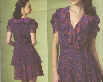 Vogue American Designer Sewing Pattern V1178 Anna Sui Ruffled Wrap Dress Size 14-16 uncut
