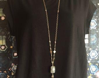 Long Labradorite with Gold and Labradorite Tassel