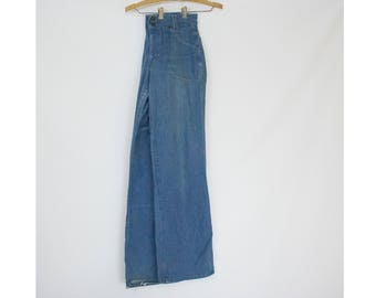 Vintage 70s Womens Small to Medium Landlubber High Waisted Denim Flares Bell Bottoms Size 32 Jeans Pants