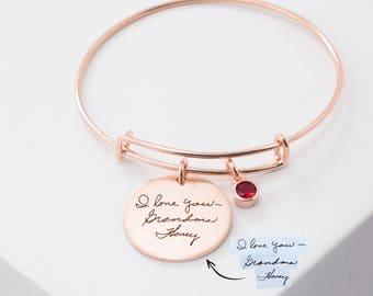 Custom Handwriting Bracelet • Engraved Signature Disc Bracelet • Actual Handwriting Jewelry • Expandable Friendship Bangle • Mom Gift • BM24