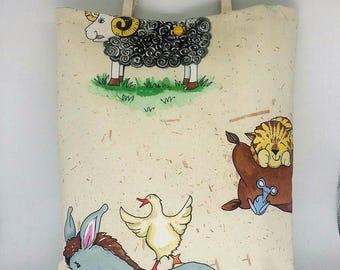"Great bag """" fabric ""farm animals"""