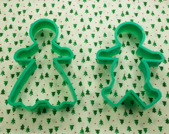 1980's Wilton Gingerbread Girl And Boy Plastic Christmas Cookie Cutters