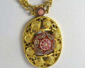 Celebrity NY Pendant Necklace - Gold Tone Red Burgundy Painted Floral Glass Cabochon Medallion Pendant Double Chain - Moroccan Matrix