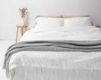 White LINEN DUVET COVER. Queen size, king size linen bedding. Soft stonewashed linen.