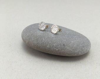 Sterling Silver Circle Hammered Earrings, Circle Hammered 10 mm Studs, Hammered Silver Round Earrings, Mini Silver Stud Earrings,