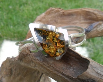 Sterling Silver and Baltic Amber Bangle, Handmade