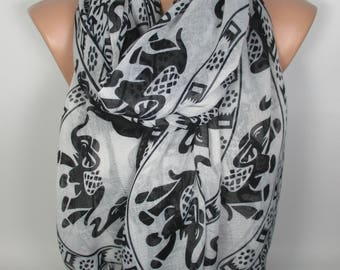 Elephant Scarf Valentines Gift Pet Lover Gift Shawl Animal Scarf Christmas Gift For Her Gift For Women Scarf Scarves Gift For Mom