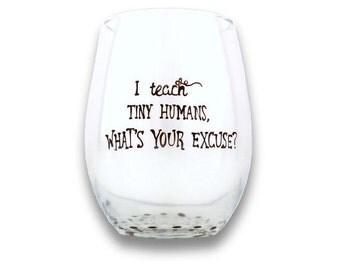 Custom Teacher Gift, Wine Glass, Teacher Gift, Stemless