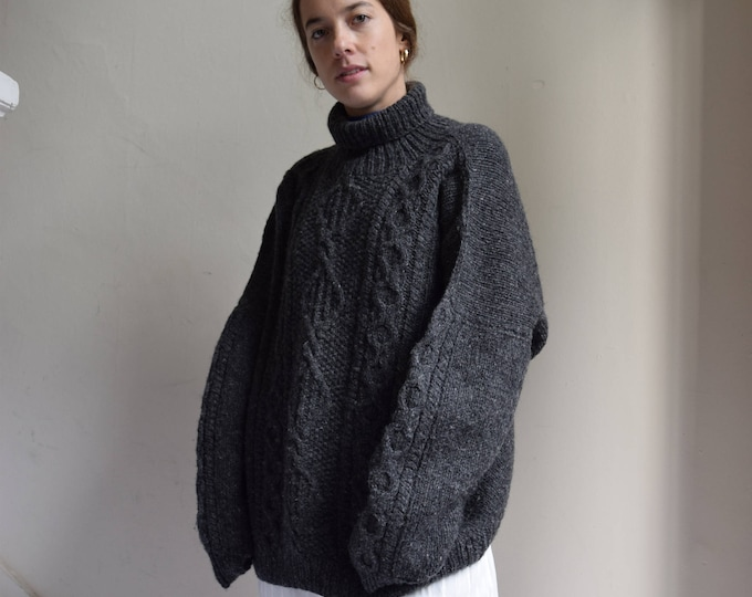 Charcoal Grey, Chunky Wool Cable Knit Turleneck Sweater.