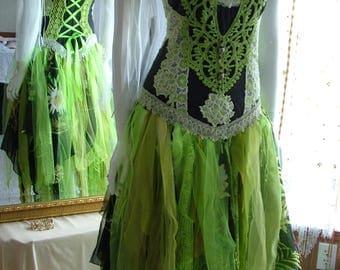 Size 6 - 10. Black lime green yellow bohemian engagement unique boho funky shabby chic wedding dress