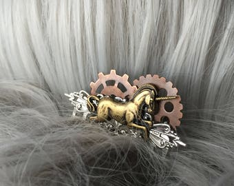 Steampunk Unicorn Hair Comb - Gold Unicorn Hair Comb - Gifts For Her Unicorn Hair Accessories - Unicorn Birthday Small Hair Comb for Her