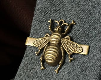 Bee Tie Clip Men's Gift From Daughter - Bee Mens Jewelry or Gifts Ideas for Geeks - Bee Tie Clip - Tie Clips - Tie Clip Mens Gift Beekeeper