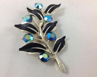 Vintage Jewelry Lapel Pin Brooch mid century retro blue black flower pin 1960's winter accessory