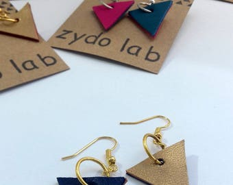 NEW! Earrings contemporary two-tone leather, handmade jewelry