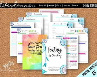 2018 Dream Chaser A5 MEGA Bundle - 20 Printable Planner Inserts- Fits Kikki K Large, Filofax A5 - Monthly Weekly Schedule