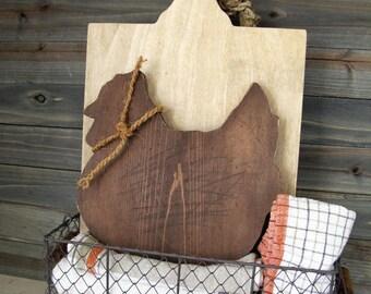 Chicken Cutting Board - Wooden Chicken Cutting Board - Farmhouse Style Decor- Farmhouse Kitchen