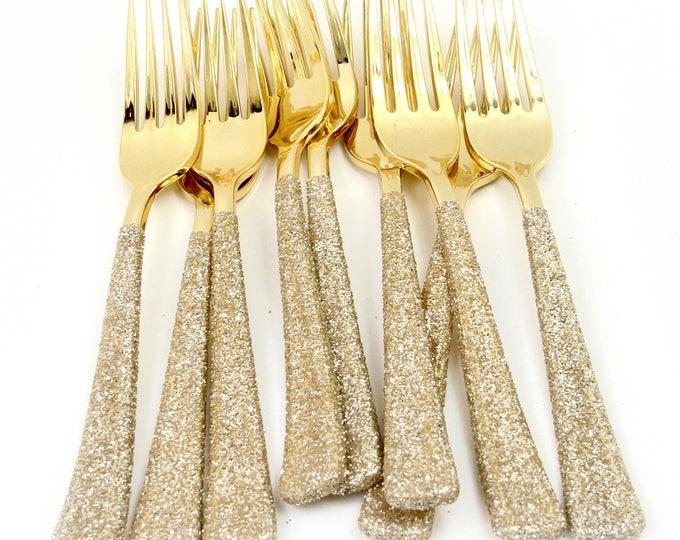 White Gold Glitter Plastic Party Fork Gold Glitter Silverware Gold Plastic Utensil Glitter Party Plastic Decor Silverware