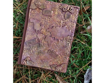 travel Journal, vintage style Journal, Journal, notebook, Notebook, Polymer clay journal, clay journal, travel diary, diary, polymer clay