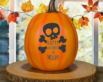 Personalized Pumpkin, Skull & Bones Pumpkin with Family Name, Personalized Resin Pumpkin, Large Pumpkin