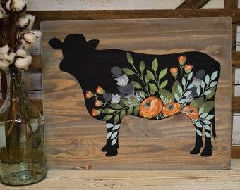 Floral Cow   Custom Sign   Personalized   Rustic Farmhouse Decor   Cottage Farmhouse Decor   Hand Painted
