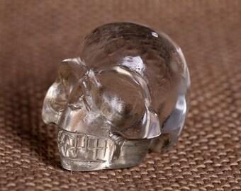 Natural Clear Quartz Crystal Carved Skeleton,Healing Skull ,Pretty surprising Crystal Skull J951
