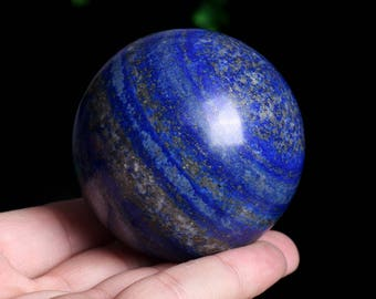 Natural Lapis Lazuli Crystal Quartz Sphere Ball Healing ,Wiccan Pagan Crystal J983