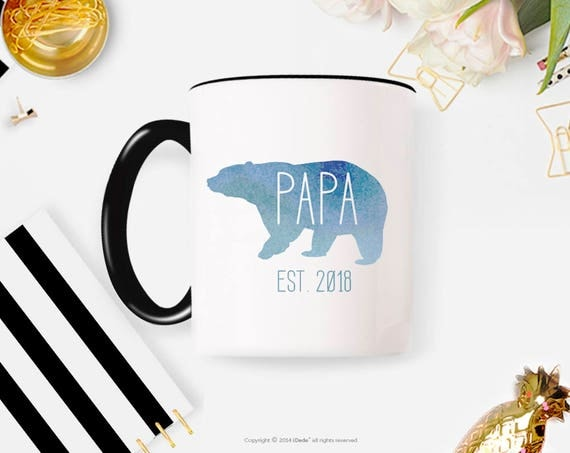New Papa Bear  papa bear mug Papa bear established Father's Day gift Father's Day New dad coffee mug mug coffee cup 47MM