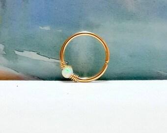 Gold White Opal conch piercing, conch earring, conch ring,conch hoop,conch piercing jewelry,conch pierced earring,16-22 Gauge