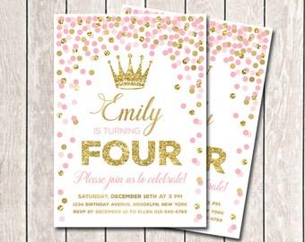 Any Age Pink Gold Birthday Invitation Princess Invitation Girl Birthday Invitation Pink Gold Confetti Invitation Printable Invitations
