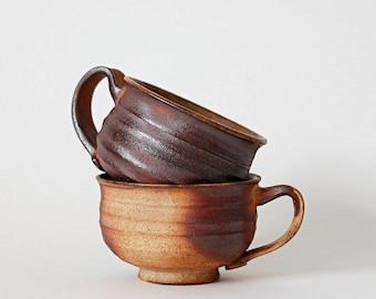 Set of TWO Woodfired Stoneware Mugs