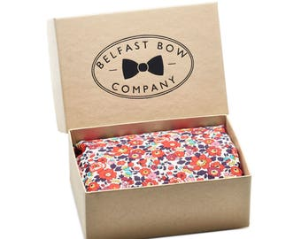 Handmade Liberty Pocket Square in Red Betsy Anne Floral