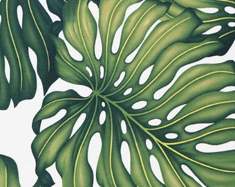 Monstera Hawaiian Upholstery Fabric Large Print Green Leaf Home & Office, By the Yard HCVN9079, Ask for bulk