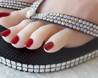 Rhinestone Handmade ace embellished flip flop shoes new photo