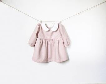 Baby Girl Linen Dress, Girl Toddler dress, Peter Pan Collar, Dusty Pink Dress, Baby Girl Outfit, Long Sleeve Dress, 1st Birthday, Kids Fall
