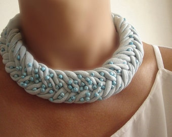 Baby blue fabric necklace, Braided Necklace, African Necklace, Fabric Choker, Braided Jewelry, Fabric Necklace, Unique Necklaces for Women