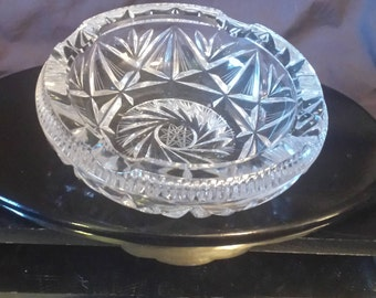 "Cigar Ashtray ""American Cut Crystal"" Star of David Brilliant Cut Crystal Ashtray,Sparkles and shine Rainbows Under Light. Check all Pictures"