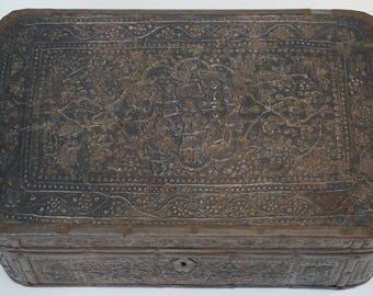Embossed Metal and Wood Box