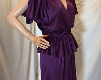 Vintage 70s Maree Purple Mini Disco Dress Draped Sleeves Lace and Rhinestone Accents