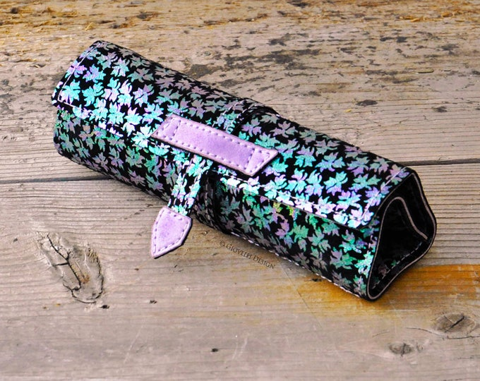 Personalized Gift, Iridescent Leather Pencil Roll