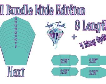 "Wide Hexi/Full Bundle/Cloth Pad Pattern/2.75"" Snapped Width/Leak Freak Compatible"