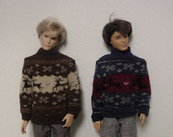 Winter sweater for Ken and similar sized dolls