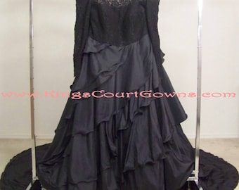 Replica Black Off the Shoulder Long Sleeve Lace Satin Ruffle Ball Gown 6 Ft Train Wedding Prom Quinceanera Masquerade Charity Evening Dress