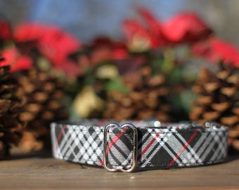 Winter Plaid Collar, Male Dog Collar, Plaid Dog Collar, Female Dog Collar, Red and Black Plaid Collar, Large Dog Collar, Small Dog Collar