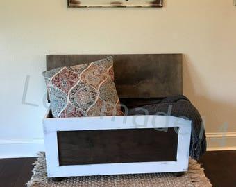 bench, shoe bin, shoe storage, storage bench, entryway, farmhouse, distressed